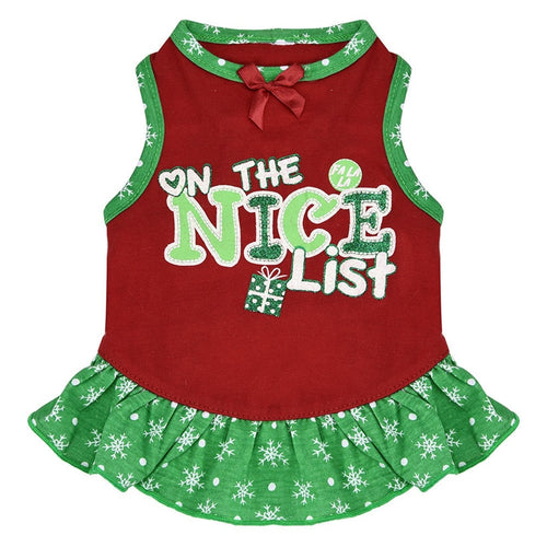 Dog Dress ON THE NICE LIST Summer Sleeveless Round Neck Green Red Pet
