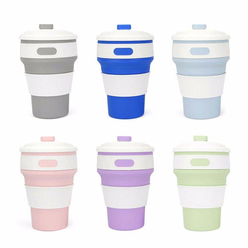 Portable Collapsible Stylish Color Silicone Folding Retractable Coffee Tea Bottles