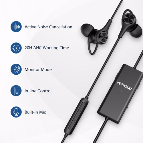 Active Noise Cancelling Earphones Wired Monitor Headset