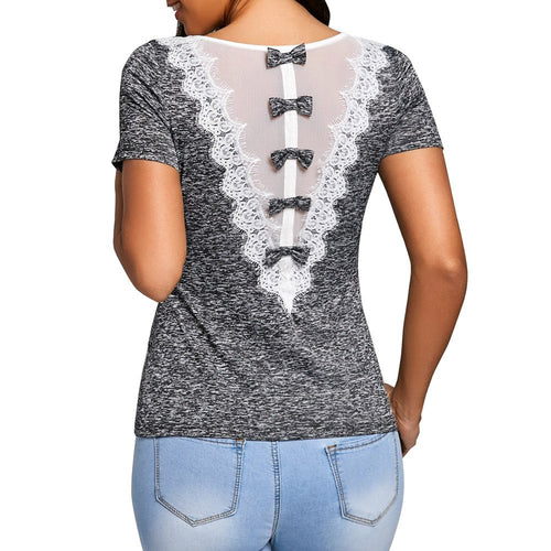 Fashion Womens T-shirt  Summer Bowknot Embellished