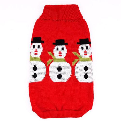 Clothes Pet Dog Christmas Sweater Snowman Print Pet Red Lapel Sweater