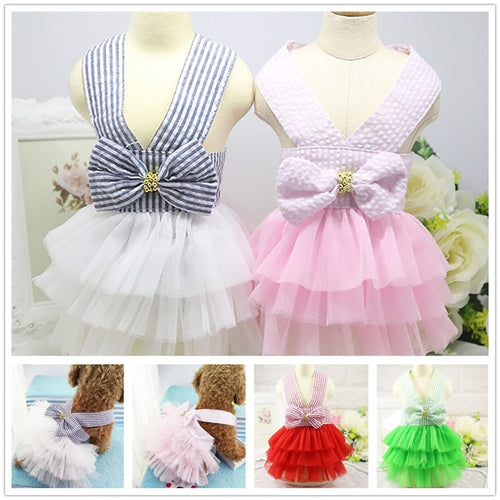 Skirt Pet Dog Dress Up Wear Princess Style Lace Stripe Clothes