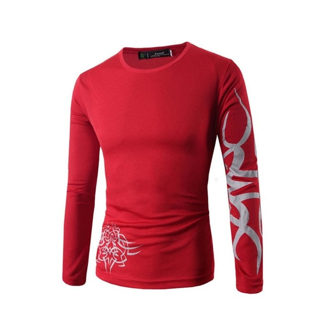 Men Long Sleeve T-shirt Loose Soft Slim
