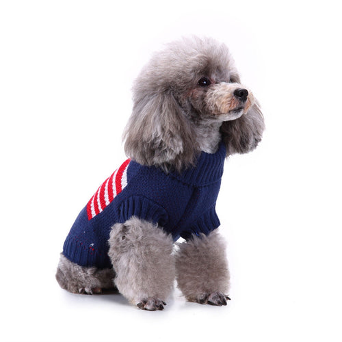 Dog Sweater Navy Blue Knit Dog Clothes Winter Warm Pet Coat Puppy
