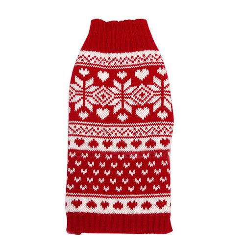 Winter Small Dogs Cat Pet Red Snowflake Sweater Clothes Knitted Coats