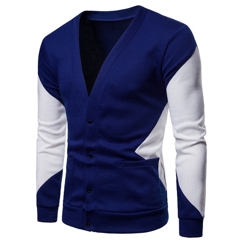 Sweater Men Casual Patchwork Long Sleeve  Blouse