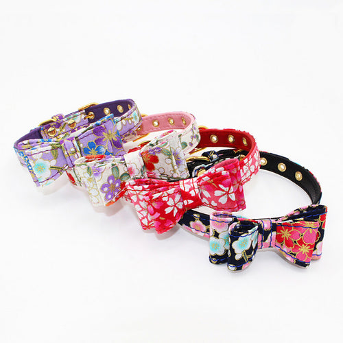 Pet Dog Adjustable Printed Bowknot Collar Cat Puppy