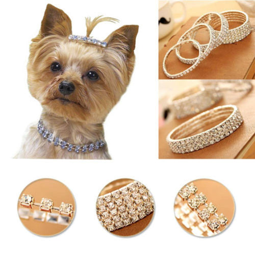 Cute Mini Pet Dog Bling Rhinestone Chocker Collars Fancy