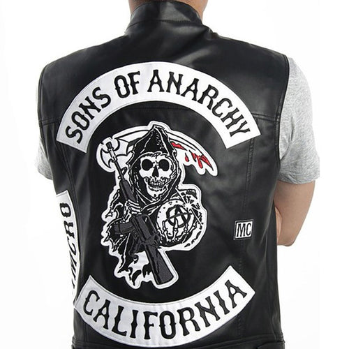 Sons of Anarchy Vest Leather Rock Punk sleeveless Jacket