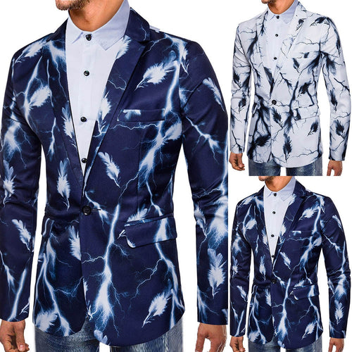 Suits & Blazer Fashion Men Autumn Winter Printed Long Sleeve Outwear
