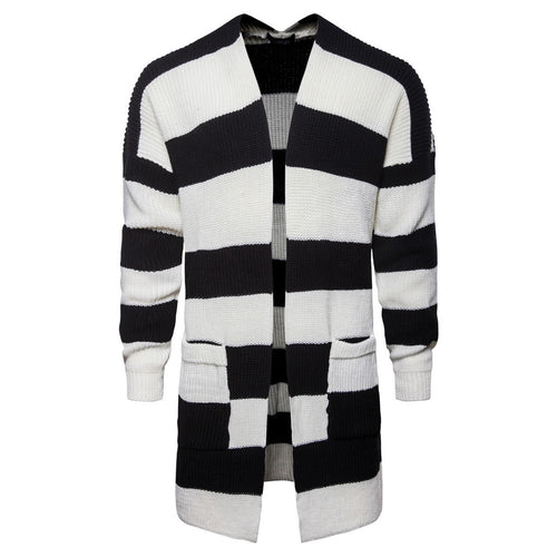 Men New Medium Long Black And White Striped  Sweater