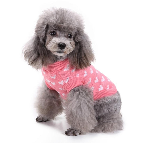 Heart Round Neck Small Pet Dog Cute Clothes Puppy Sweater dog clothes