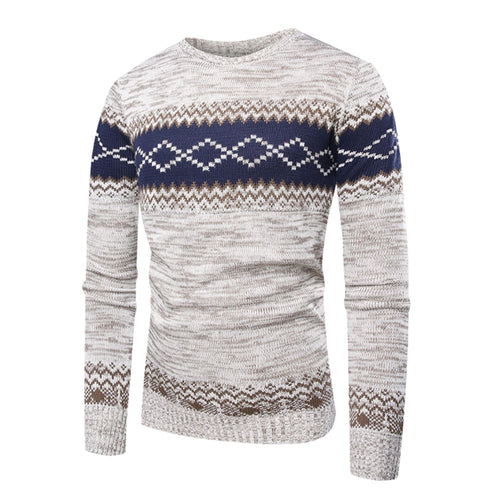 Men Winter Pullover Printed Sweater Outwear Blouse