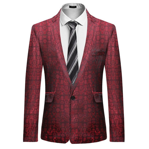 Men Winter Blazers Print Slim Suit Winter Casual Long