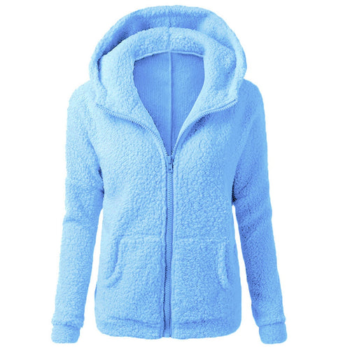 Women  Fashion Winter Warm Wool Zipper  Cotton Coat Outwear