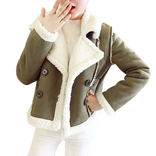 Women Winter Warm soft Velvet Double  Short Coat Jacket
