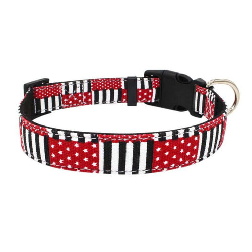Pet Dog Collar Harnesses Adjustable Microfiber Plaid America