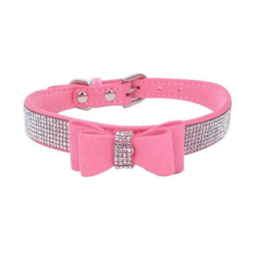 Pet Dog Collar Harnesses Full Rhinestone Soft Seude Leather