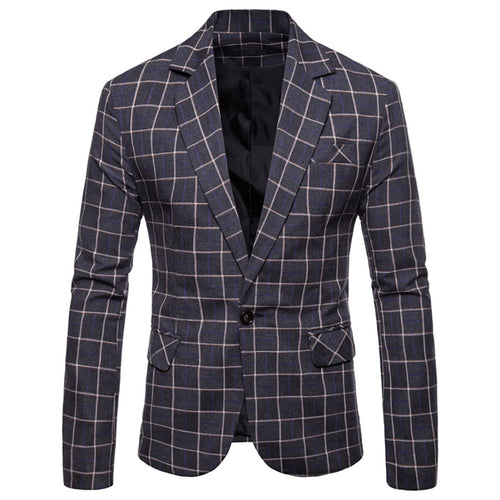 Men Slim Button Suit Plaid Turn-down Collor Men Blazer