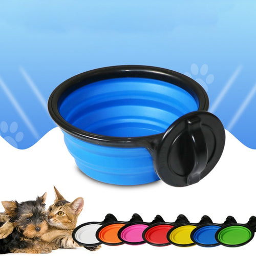 Stainless Steel Folding Silicone Dog Bowl Outfit Portable Travel