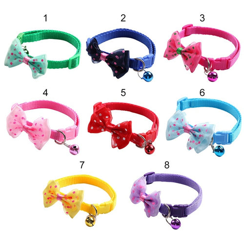 Pet Collar With Dogs Bow Knot And Bells for Puppy