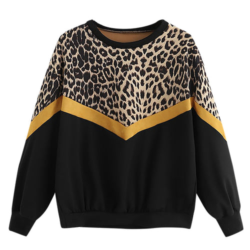 Leopard Print Women's T Shirt O Neck patchwork