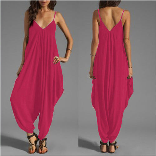 Women Summer Fashion V Neck Camisole Thin Loose Strap  Baggy Jumpsuit
