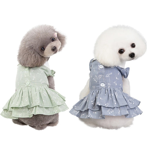 Girls Dresses Practical Note Patterns Pet Dog Cat Skirt Clothes Cute Puppy Princess
