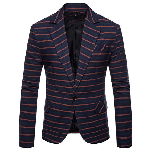 Winter Fashion Men's blazer Long Sleeve Stripe Formal Wear