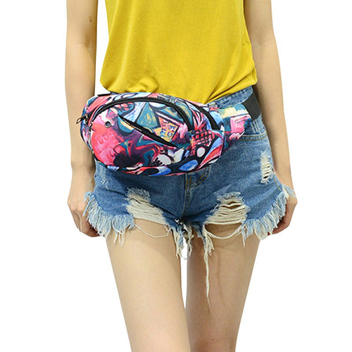 Running Single Shoulder Print Multi Functional Water Resistant Waist Messenger Bags
