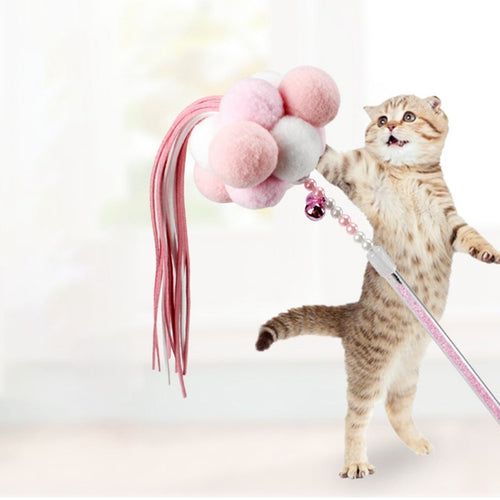 Interactive Pet Cat Feather  Teaser Wand with Bells Pompon Tassel Feather Toys