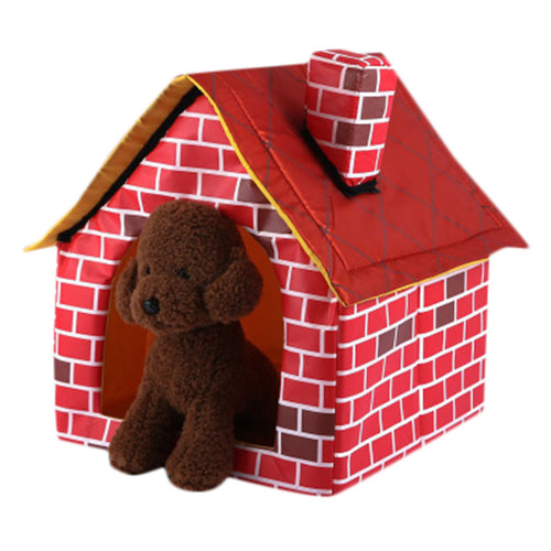 Removable Washable Red Brick Pet House Dog Bed Single