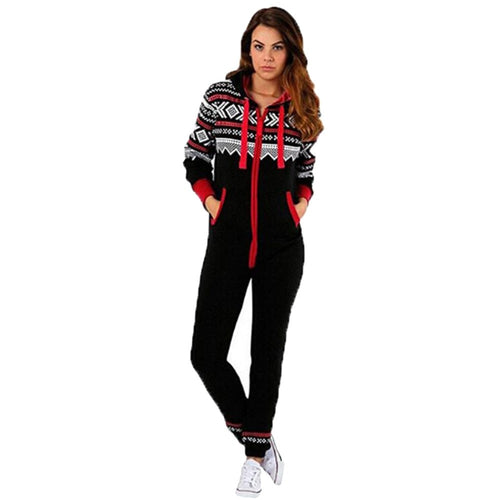Xmas Casual Hoodie Print Christmas Zipper Print Jumpsuit Clothes For Girls
