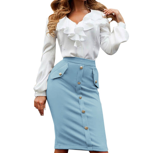 Women Skirts Fashion High Waisted Pencil Club Skirt