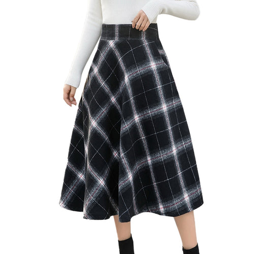 Winter Skirt Womens High Elastic Waist Maxi