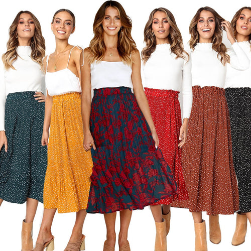 New Fashion Print Pleated Skirts Women