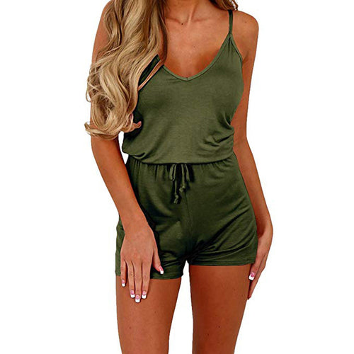Women Sleeveless Waist Drawstring Short Playsuit Rompers Jumpsuit