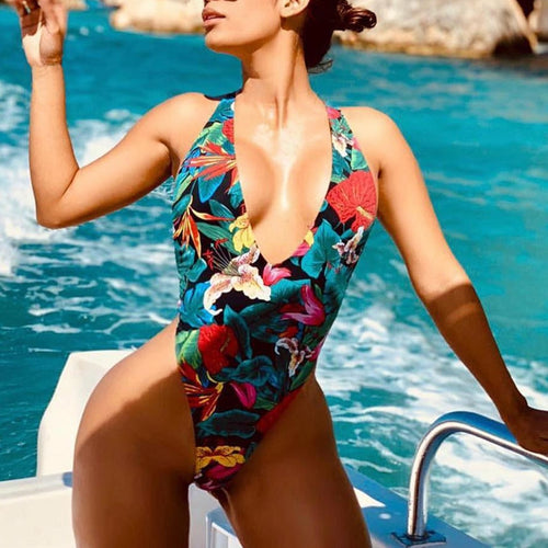Ladies's Sexy Deep V Backless Print Stitching Swimsuit