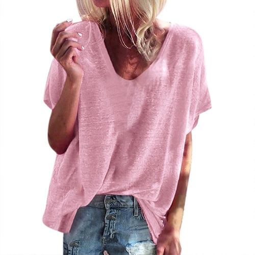 Women's t-shirt Solid Loose Tops summer casual