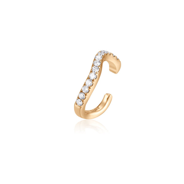 NORA |  Single Diamond Curvy Ear Cuff