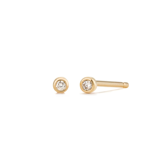 THEA | Tiny Bezel Diamond Studs
