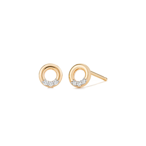 LENA| Open Circle Diamond Studs