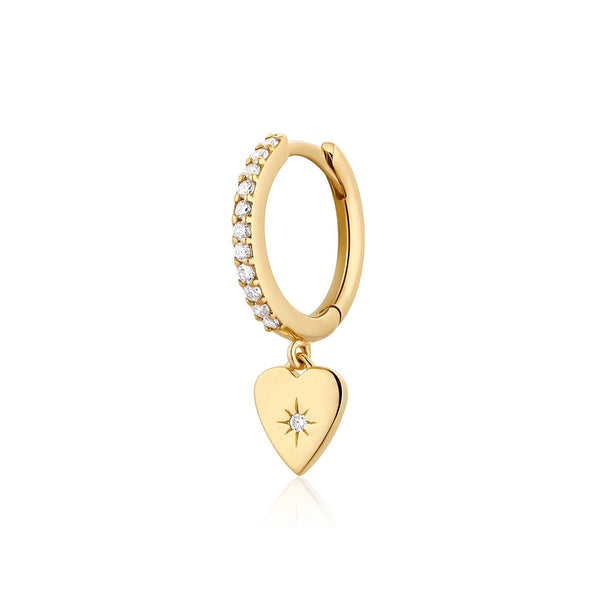 VICTORIA | Single Diamond Heart Hoop