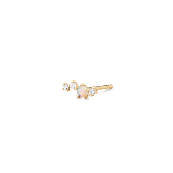 VENUS | Single Opal and Diamond Stud
