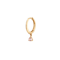 BLOSSOM | Single Huggie Hoop with Morganite Drop