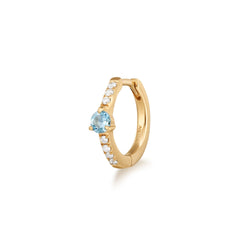 BRENNA | Diamond and Aquamarine Single Huggie Hoop