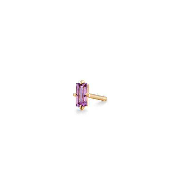 VIOLET | Amethyst Baguette Single Stud Earring
