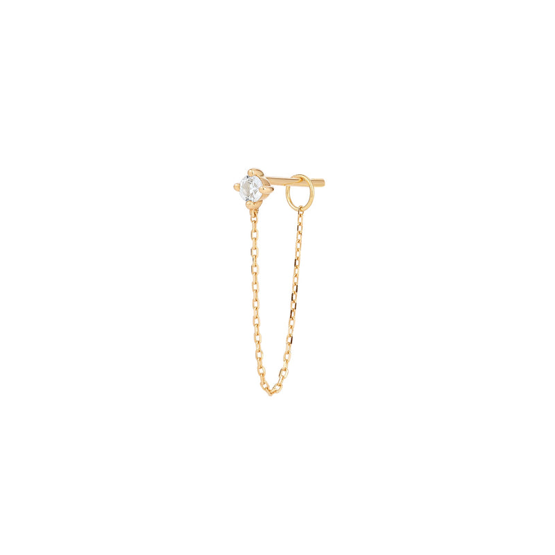 AVA | White Sapphire Chain Single Drop Earring