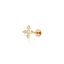 LIESE | Diamond 4-Pointed Cross Single Piercing Earring