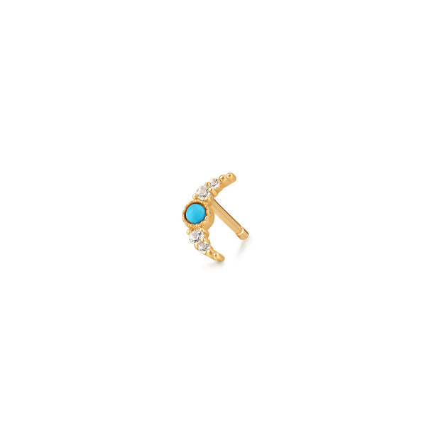 NORA | Turquoise & White Sapphire Crescent Moon Single Earring